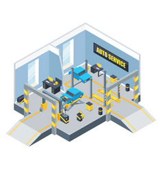 interior of auto service with different tools and vector image vector image