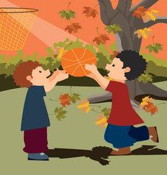 kids-playing-basketball vector image vector image