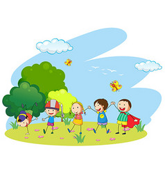 Kids playing in the garden vector image
