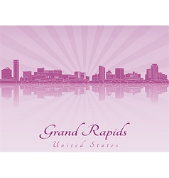 Grand Rapids skyline in purple radiant orchid vector image
