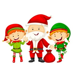 Santa and two eleves with red bag vector image