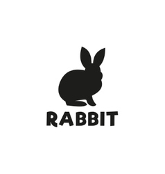 Silhouette of a rabbit sitting under logo pet vector image vector image