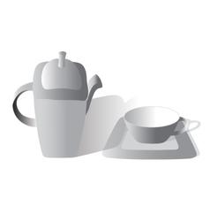 Tea set gray vector image vector image