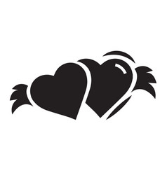 two hearts with wings black color vector image