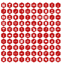 100 violation icons hexagon red vector