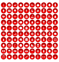 100 wellness icons set red vector