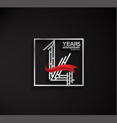 14 years anniversary logotype with square silver vector