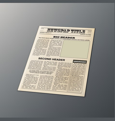 3d old vintage newspaper layout on table template vector image