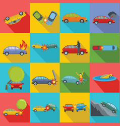 accident car crash case icons set flat style vector image
