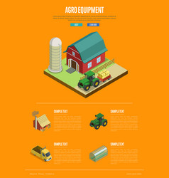 Agro equipment banner with isometric elements vector