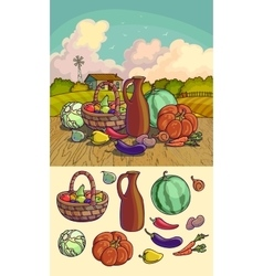 Autumn harvesting of group of vector image