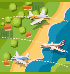 aviation planes top view concept cartoon style vector image