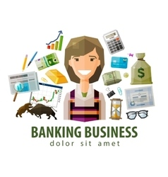 Bank stock exchange business logo design vector