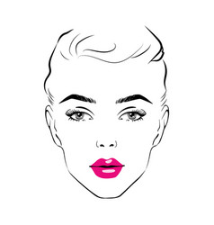 beautiful woman face with pink lipstick on lips vector image