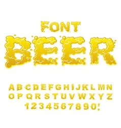 Beer font Yellow liquid ABC Flowable typography vector image