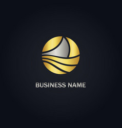 Boat round abstract gold logo vector
