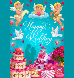 bride and groom with wedding rings gifts and cake vector image