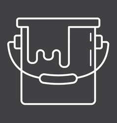 bucket of paint line icon build and repair vector image