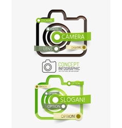 Camera infographics with tag cloud design vector image