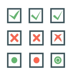 Check marks or ticks in boxes set vector image