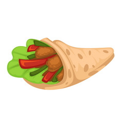 Chicken doner or wrap with vegetables and salad vector