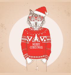 Christmas hipster fashion animal wolf vector