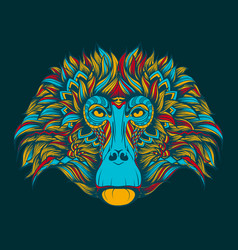 Colorful baboon monkey face doodle vector