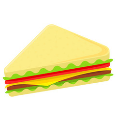colorful cartoon sandwich fast food vector image