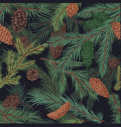 Colorful realistic seamless pattern with conifer vector