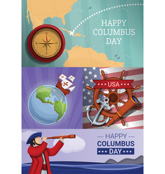 Columbus day banner set cartoon style vector