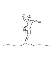 continuous one line drawing happy boy jumping vector image