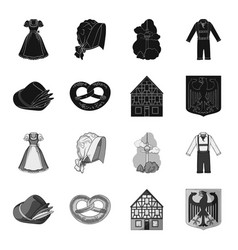 Country germany blackmonochrome icons in set vector