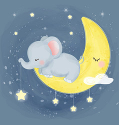 Cute elephant sleeping vector