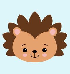 cute flat hedgehog with blush childish vector image