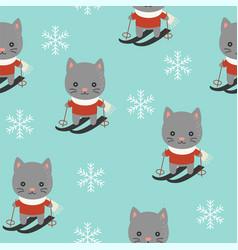 cute kitten playing ski christmas seamless vector image
