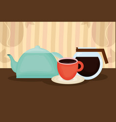 delicious coffee and tea time icons vector image