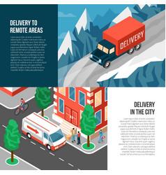 delivering trucks banners set vector image