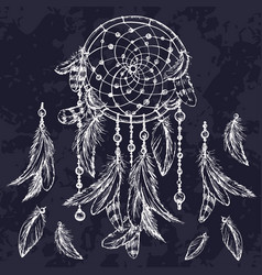 dream catcher sketch hand drawn vector image