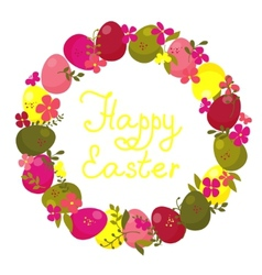 easter wreath with eggs and flowers vector image vector image