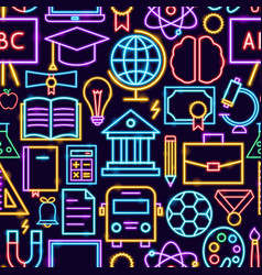 education neon seamless pattern vector image