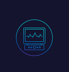 Electrocardiogram line icon vector