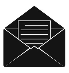 Envelope with sheet of paper icon simple style vector