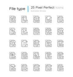 File extensions pixel perfect linear icons set vector