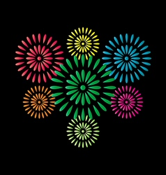 Fireworks colorful isolated on black background vector