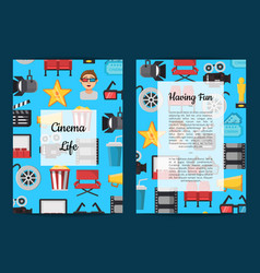 Flat cinema icons card or flyer vector