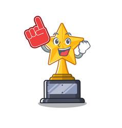 Foam finger star shaped cartoon toy trophy vector