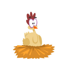 Funny hen sitting in the nest comic cartoon vector