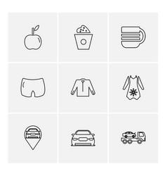 Garments cloths wear dress eps icons set vector