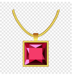 Garnet necklace icon realistic style vector