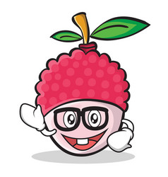 Geek face lychee cartoon character style vector